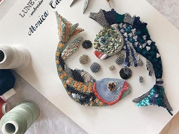 Очаровательные рыбки, выполненные в технике люневильской вышивки Monica Calles | Ярмарка Мастеров - ручная работа, handmade