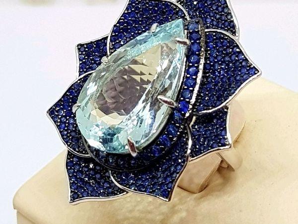 «Подарок Императора»  Роскошное кольцо с аквамарином и сапфирами   Ярмарка Мастеров - ручная работа, handmade