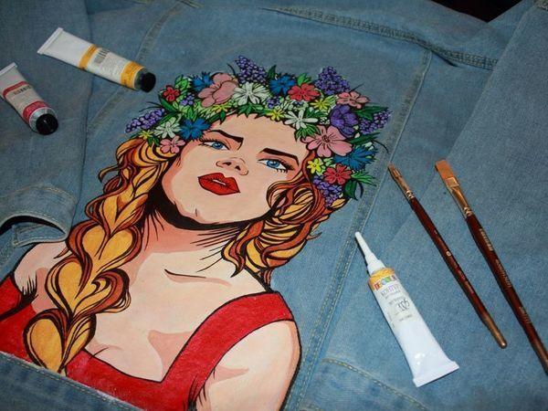 Декорируем джинсовую куртку изображением девушки-славянки в стиле поп-арт | Ярмарка Мастеров - ручная работа, handmade