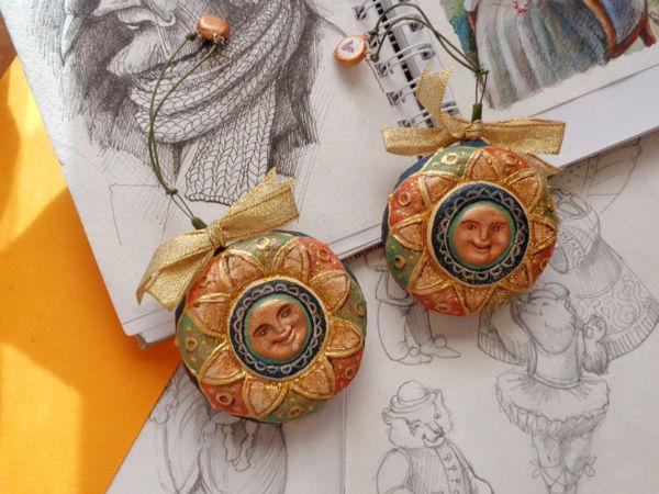 Создаем елочную игрушку «Солнышко» в смешанной технике | Ярмарка Мастеров - ручная работа, handmade