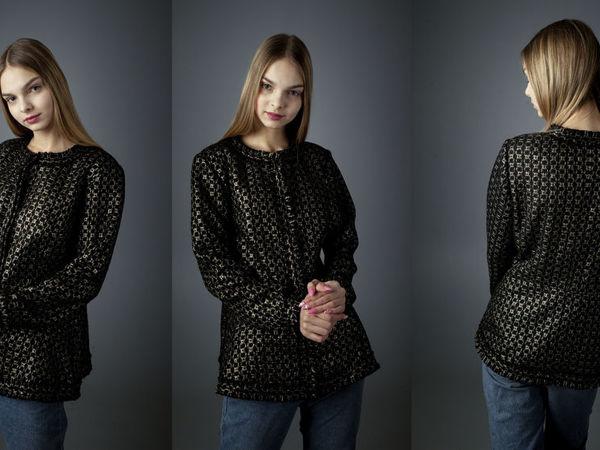 Черный с золотом жакет Шанель с баской | Ярмарка Мастеров - ручная работа, handmade