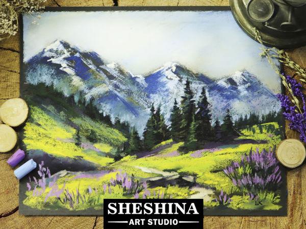 Рисуем горный пейзаж сухой пастелью на наждачной бумаге | Ярмарка Мастеров - ручная работа, handmade