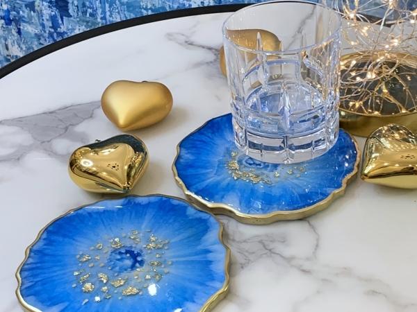 Новинка: Подставки для бокалов и чашек «Голубые цветы»   Ярмарка Мастеров - ручная работа, handmade