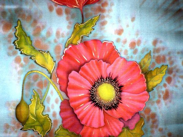 Расписываем шелковый платок. Холодный батик | Ярмарка Мастеров - ручная работа, handmade
