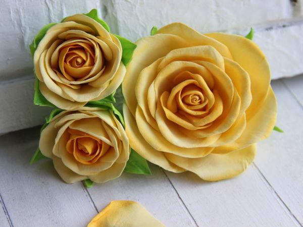Как сделать розу из фоамирана без молда диаметром 8 см | Ярмарка Мастеров - ручная работа, handmade