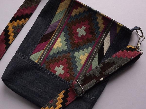 Шьем из гобелена и джинсовой ткани ремешок для сумочки | Ярмарка Мастеров - ручная работа, handmade