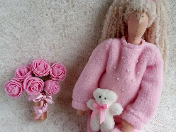 Тильда в розовом домашнем костюме | Ярмарка Мастеров - ручная работа, handmade