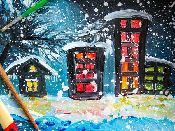 Рисуем гуашью «Ночной город» — подробный видеоурок для детей | Ярмарка Мастеров - ручная работа, handmade