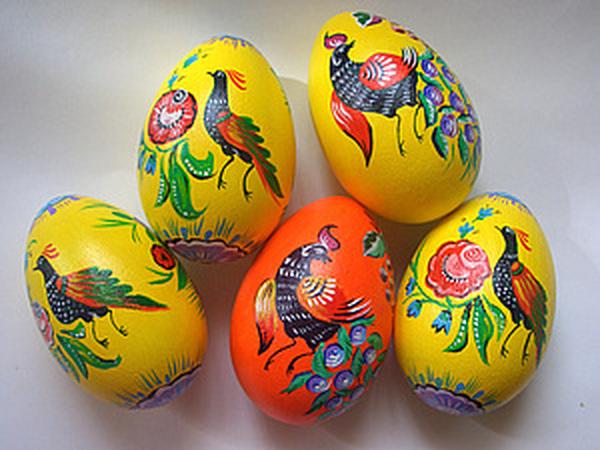 Пасхальное яйцо в городецком стиле   Ярмарка Мастеров - ручная работа, handmade