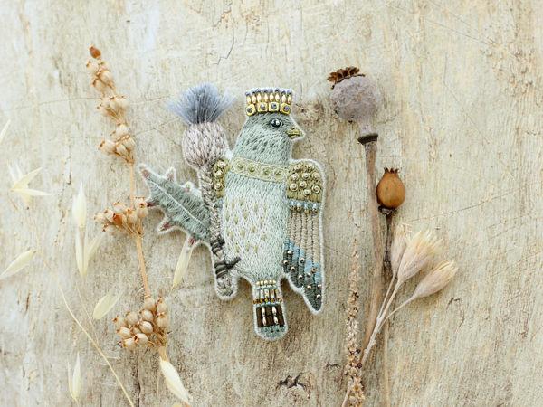 Новая брошь Птица на Чертополохе | Ярмарка Мастеров - ручная работа, handmade