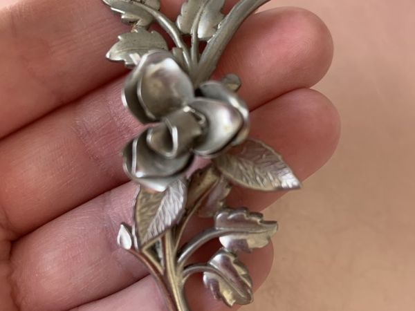 АУКЦИОН: Антикварная серебряная брошь Роза, Coro Sterling, США, 1960е | Ярмарка Мастеров - ручная работа, handmade