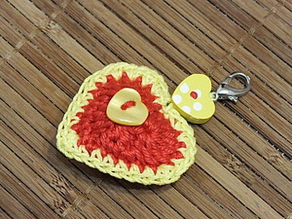 МК Вяжем сердечко - брелок (много фото) | Ярмарка Мастеров - ручная работа, handmade