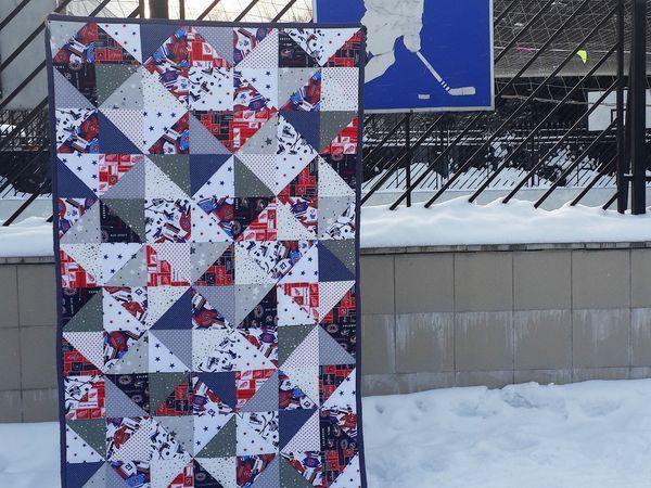Хоккей-это сила! Лоскутное одеяло для настоящих мужчин   Ярмарка Мастеров - ручная работа, handmade