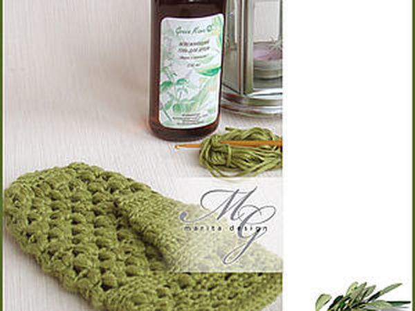 Варежка-мочалка из волокон крапивы | Ярмарка Мастеров - ручная работа, handmade
