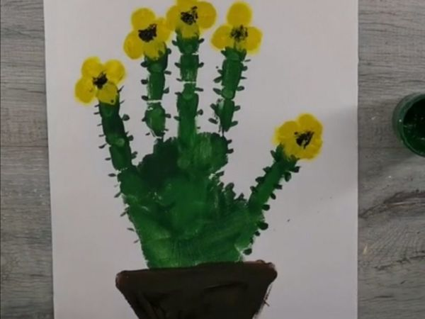 Рисуем ладошками кактус | Ярмарка Мастеров - ручная работа, handmade