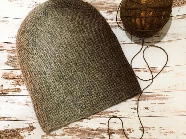 Вяжем шапку-бини укороченными рядами | Ярмарка Мастеров - ручная работа, handmade
