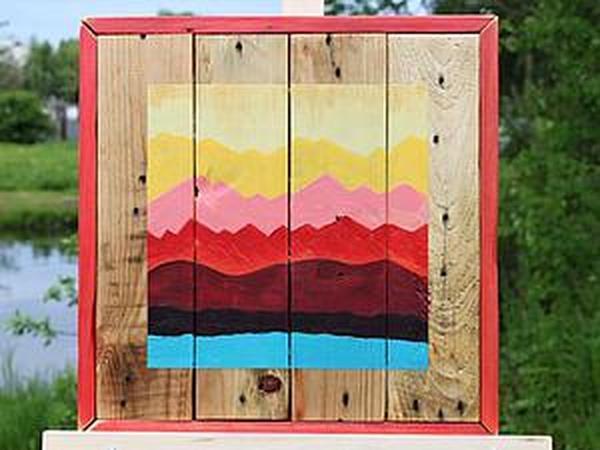 Как сделать яркое настенное панно из старых поддонов | Ярмарка Мастеров - ручная работа, handmade
