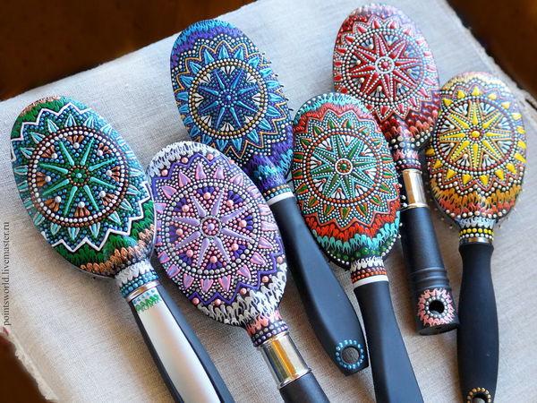 Делаем подарки в технике точечной росписи: массажные расчески | Ярмарка Мастеров - ручная работа, handmade