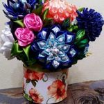 Цветы из атласной ленты - Ярмарка Мастеров - ручная работа, handmade